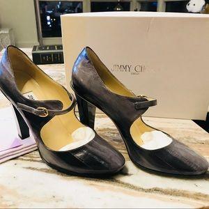 Jimmy Choo Kiln Grey shaded eel Mary Jane heels